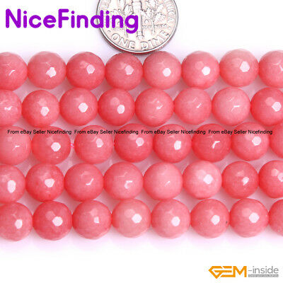 """4mm 6mm 8mm Round Faceted Pink Opal Jade Beads For Jewelry Making Strand 15"""" DIY"""