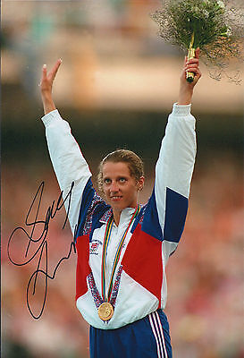 Sally GUNNELL Autograph 12x8 Signed Photo AFTAL COA Olympic GOLD Medal Winner GB