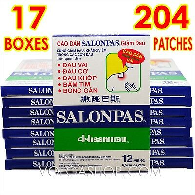 204 Patches = 17 Boxes x 12 Plasters - Hisamitsu SALONPAS - Muscle Pain Relief