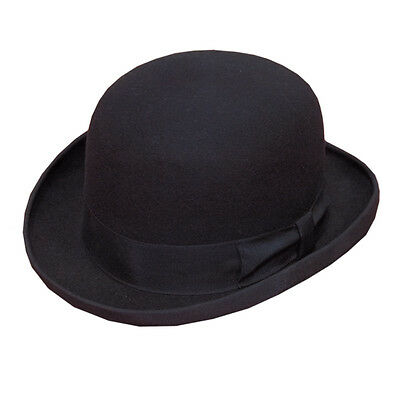 Wider Band High Quality BLACK Hard Top 100% Wool Bowler Hat