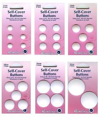 Hemline Nylon Self Cover Buttons Easy To Use No Tool Required! Sizes 11-38mm