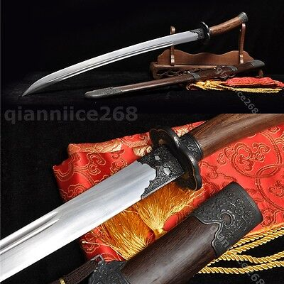 38' Sharp Rooswood 1060 Carbon Steel Full Tang Chinese Qing Sword(清刀)