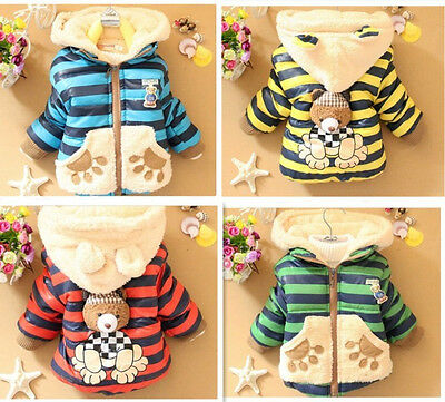 Kids Baby Toddlers Boys Girls Teddy 3D Bear Winter Hoodies Coats Jackets Jumpers