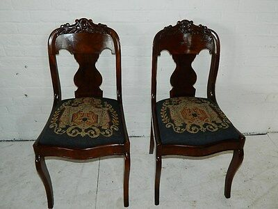 Antique Pair Walnut Empire Sabre Leg Chairs W/Carved Crest Needlepoint Seat