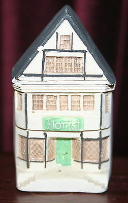 "Philip Lauerston England FLORIST #730 mini house 3"" tall Cermaic Bisquet P14"