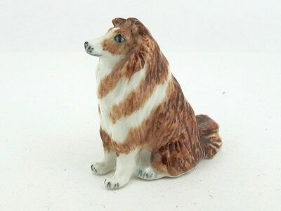 Craft Miniatures Collectible Ceramic Cute Brown Collie Dog FIGURINE Animals