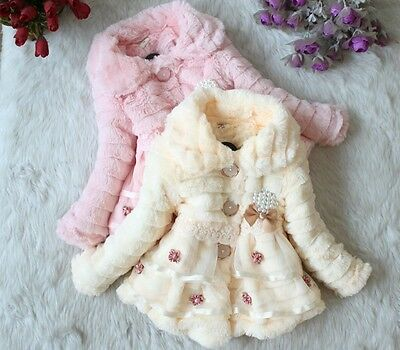 Baby Kids Toddler Girls Faux Fur Fleece Lined Winter Hoodies Jacket Coat Outwear
