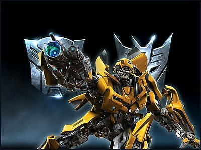 Transformers Bumblebee 8 Edible Icing Party Cake Topper Decoration Image Custom