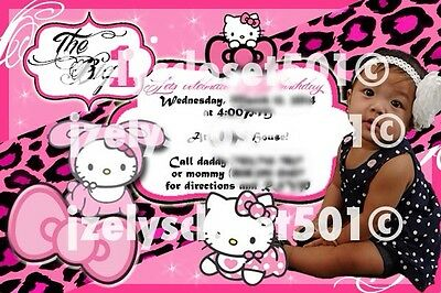Pink Hello Kitty First Birthday Girl Invitation and thank you tag Custom Made