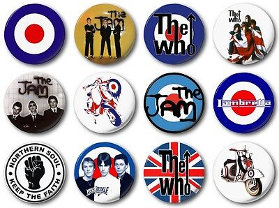 MOD COLLECTION - 12 x 1 inch / 25mm Button Badge - Who Jam Weller Scooter