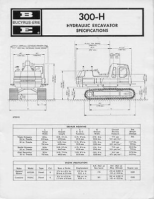 Bucyrus Erie 300-H Hydraulic Excavator specifications photo on back