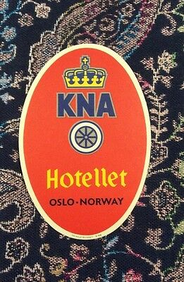 Authentic Vintage Luggage Travel Sticker Hotel KNA Hotellet Oslo Norway Fabulous