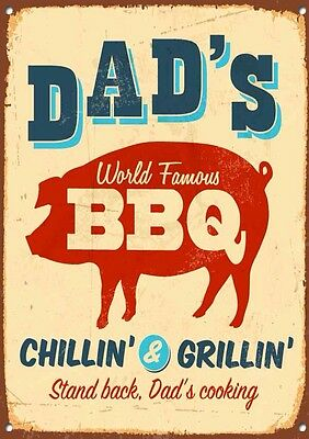 """""""DADS BBQ""""COLLECTABLE, ENAMEL,VINTAGE STYLE, Metal Sign.337"""