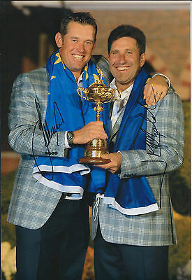 Lee WESTWOOD & Jose Maria OLAZABAL SIGNED AUTOGRAPH Photo AFTAL COA Ryder Cup