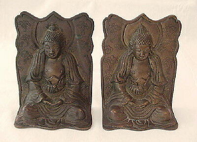 Vintage Antique Bronze Metal Chinese Buddha Bookends