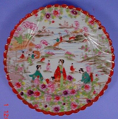 ANTIQUE JAPANESE MEIJI PERIOD GEISHA GIRL PORCELAIN HAND PAINTED SCALLOPED PLATE