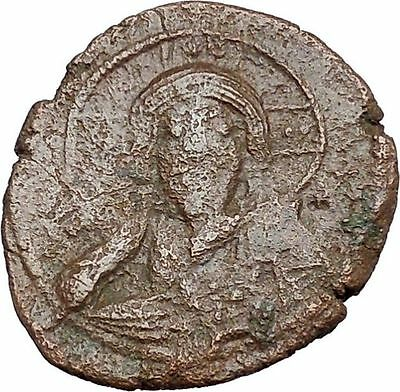 JESUS CHRIST Class E Anonymous Ancient 1059AD Byzantine Follis Coin  i41274