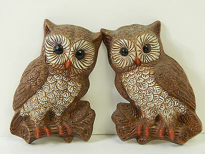 "Vintage Foam / Resin Hanging Hoot Owl, 1970'S Wall Art 5"" X 7"" Mid-Century"