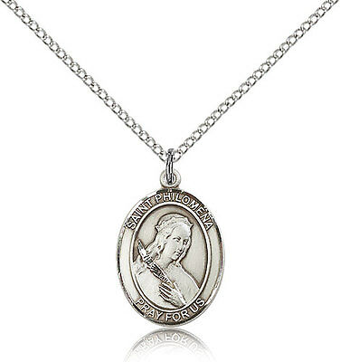 """Saint Philomena Medal For Women - .925 Sterling Silver Necklace On 18"""" Chain ..."""