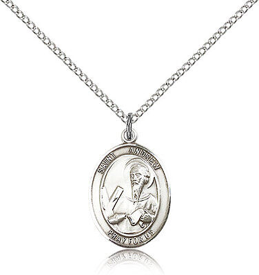 Saint Andrew The Apostle Medal For Women - .925 Sterling Silver Necklace On 1...