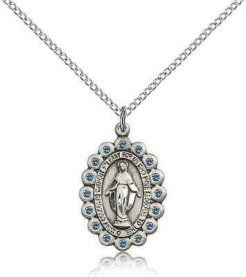 Our Lady of Miraculous Medal Pendant For Women - .925 Sterling Silver Necklac...