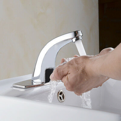 Hot Cold Mixer Automatic Sensor Bathroom Sink Water Tap Hand Free Chrome Faucet