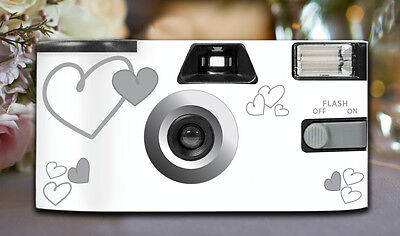 10 x Silver Heart Disposable Wedding Cameras 27exp, flash & matching table cards