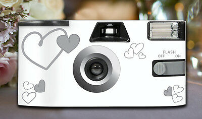 12 x Silver Heart Disposable Wedding Cameras 27exp, flash & matching table cards