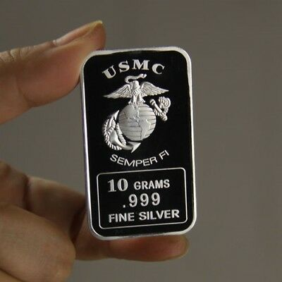 10 Grams 999 Fine Silver Bullion Bar / USMC / oz  TSB011 - 1