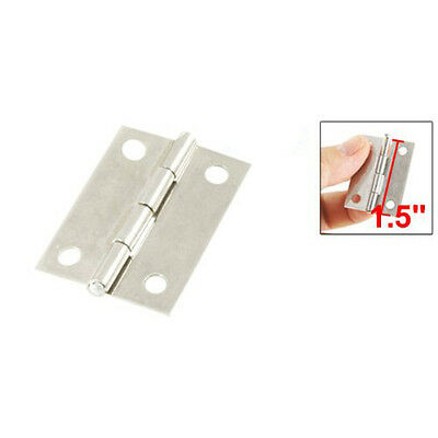 "New 2 Pcs Silver Cabinet Drawer Door Stainless Steel Butt Hinges 1.5"" Length PK"