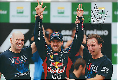 Christian HORNER Victory SIGNED AUTOGRAPH 12x8 Photo AFTAL COA Red Bull Genuine