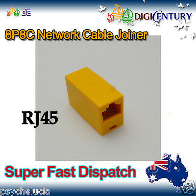 Yellow RJ45 8P8C Network Cable Joiner Plug Coupler Extender Connector Adapters