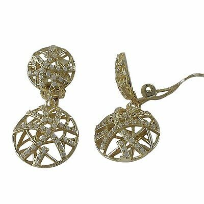 Sterling Silver Gold Plated Crisscross Circle Womens Clip On Earrings