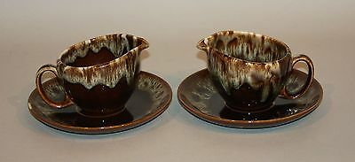 2 Canonsburg Pottery Brown Drip Creamers with Saucers