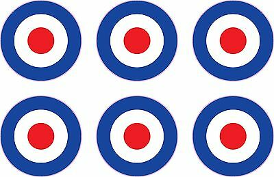 "RAF Roundel 6x 1"" Stickers Mod The Who Lambretta Vespa Scooter Bike Vinyl Decals"