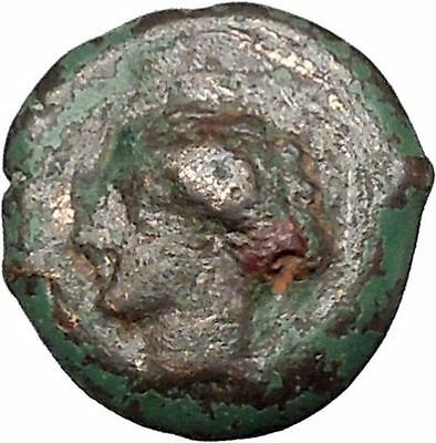SYRACUSE in Sicily 357BC RARE Ancient Greek Coin Nymph Arethusa Incuse i41266