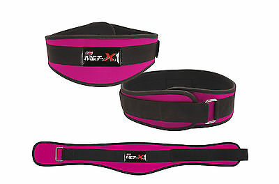 Met-X Womens Weight Lifting Fitness Gym Belts Back Support Pink Training Belts
