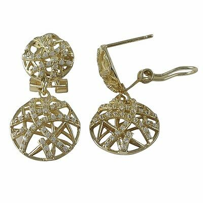 Sterling Silver Gold Plated Crisscross Circle Womens Post Clip Dangle Earrings