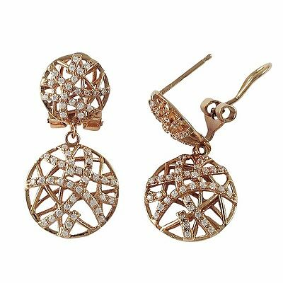 Sterling Silver Rose Plated Crisscross Circle Womens Post Clip Dangle Earrings