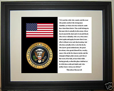 President 1901-1909 Theodore Roosevelt Quote American Flag Seal Framed Photo