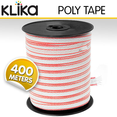 400M Roll Polytape Electric Fence Energiser Stainless Steel Poly Tape Insulator