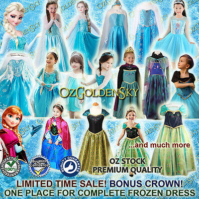 New Girls FROZEN Queen ELSA Princess ANNA Birthday Costume Party Dress 2-13Y