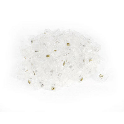 60 Pcs Clear Plastic RJ11 6P4C Modular Plug Connector for Telephone Phone