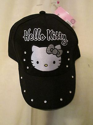 Hello Kitty, Black Peaked Suncap   Approx  5-10 Years