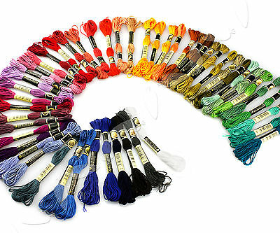 50 Colors Embroidery Thread Cross Stitch Floss Sewing Skeins 100% Cotton UK