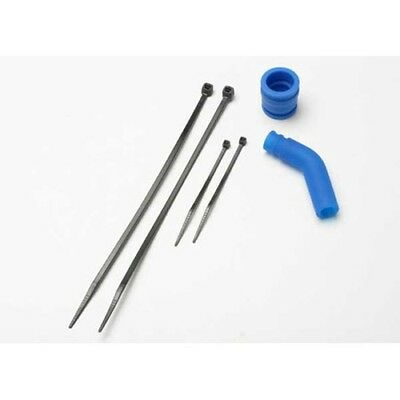 Traxxas 5245 Pipe Coupler, Exhaust Deflector (+ cable ties): Blue (New!)