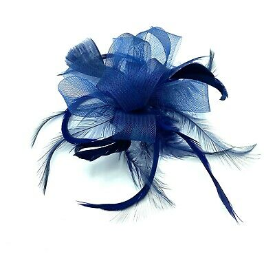 Navy Looped Feather Fascinator Ladies Day Races Wedding Royal Ascot