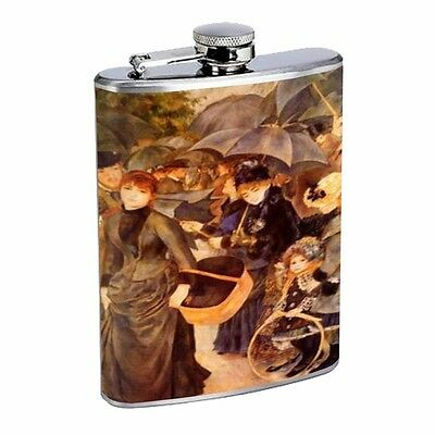 Renoir The Umbrellas D338 Flask 8oz Stainless Steel Black