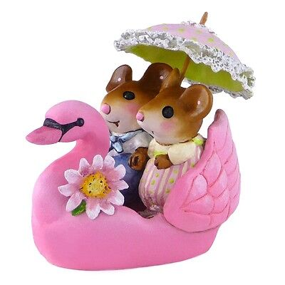 DREAMBOAT by Wee Forest Folk, WFF# M-475a, PINK Swan with Mouse, LTD