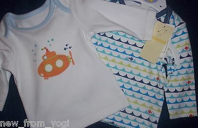 Bnwt Baby Boy's Long Sleeved Tops 2 Part Set Indigo Baby, Up To One Month